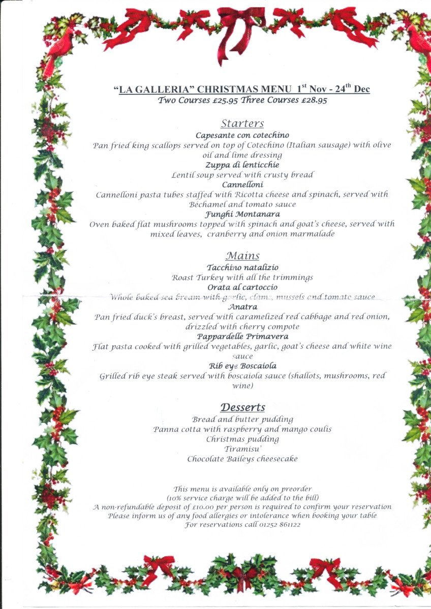 Christmas Meal 2019 Menu